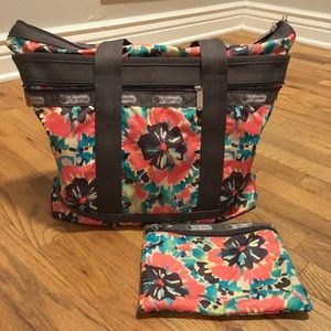 Lesportsac Patterned Tote Bag + Matching Clutch